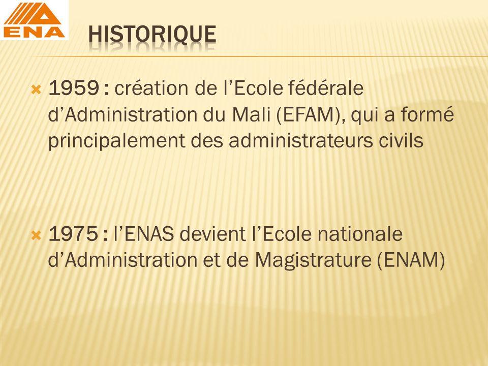 HISTORIQUE 1959 : création de l'Ecole fédérale d'Administration du Mali (EFAM), qui a formé principalement des administrateurs civils.