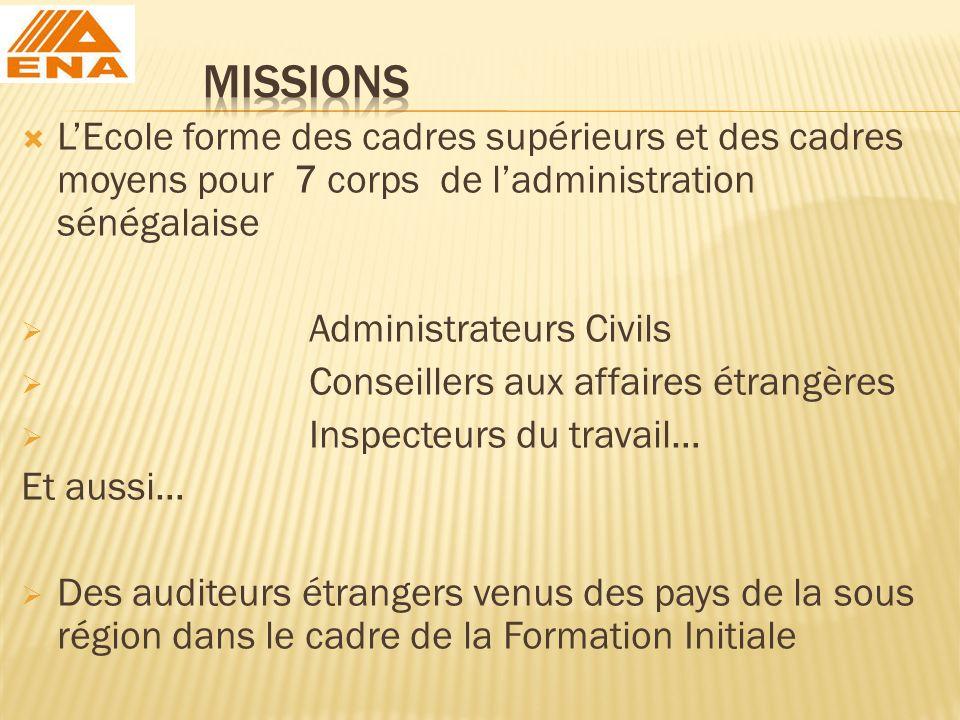 MISSIONS L'Ecole forme des cadres supérieurs et des cadres moyens pour 7 corps de l'administration sénégalaise.