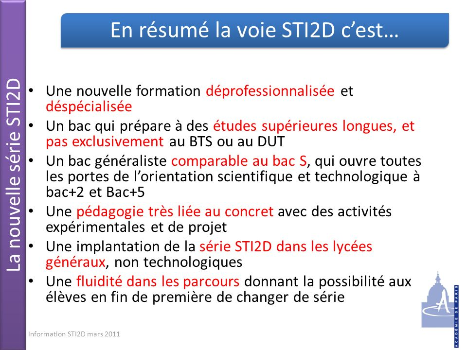 En résumé la voie STI2D c'est…
