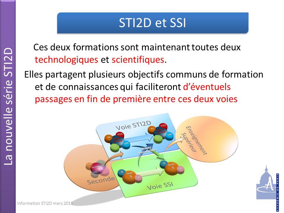 STI2D et SSI La nouvelle série STI2D