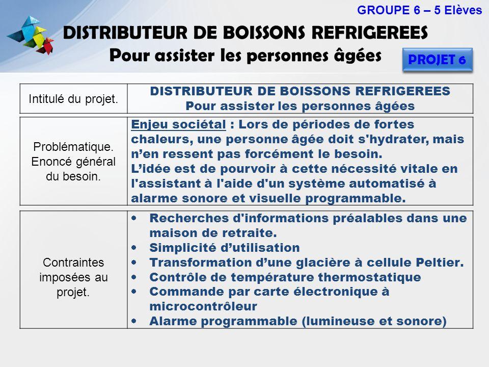 DISTRIBUTEUR DE BOISSONS REFRIGEREES Pour assister les personnes âgées