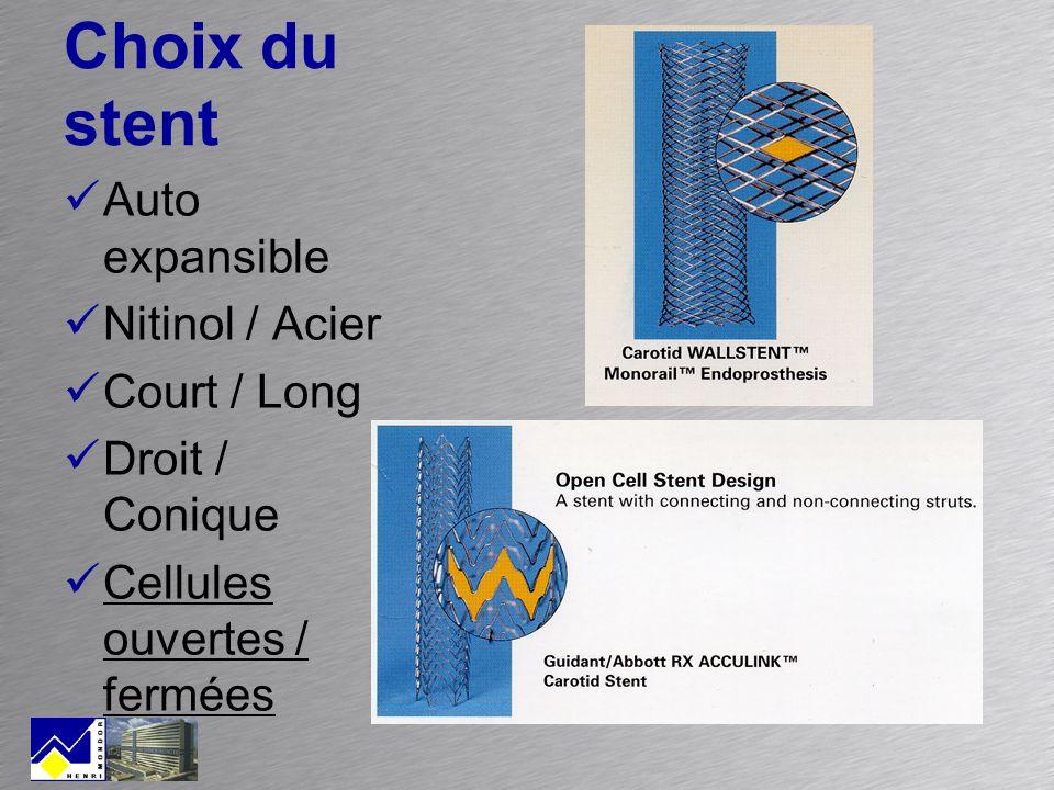 Choix du stent Auto expansible Nitinol / Acier Court / Long