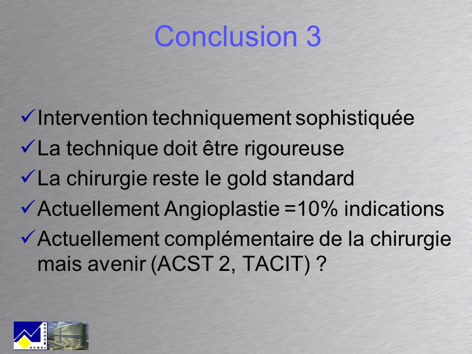 Conclusion 3 Intervention techniquement sophistiquée
