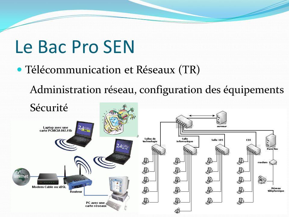 Le Bac Pro SEN Télécommunication et Réseaux (TR)