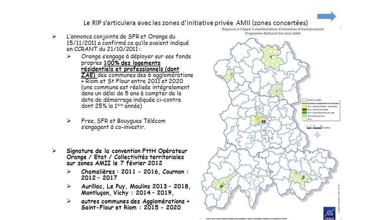 Le RIP s'articulera avec les zones d'initiative privée AMII (zones concertées)