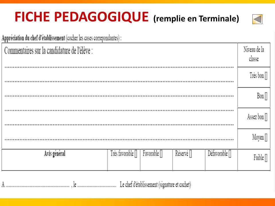 FICHE PEDAGOGIQUE (remplie en Terminale)