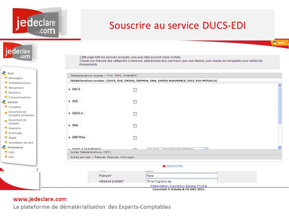 Souscrire au service DUCS-EDI