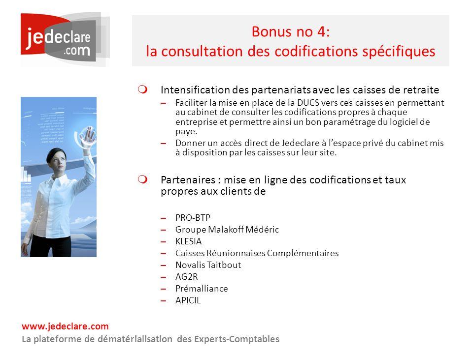 Bonus no 4: la consultation des codifications spécifiques