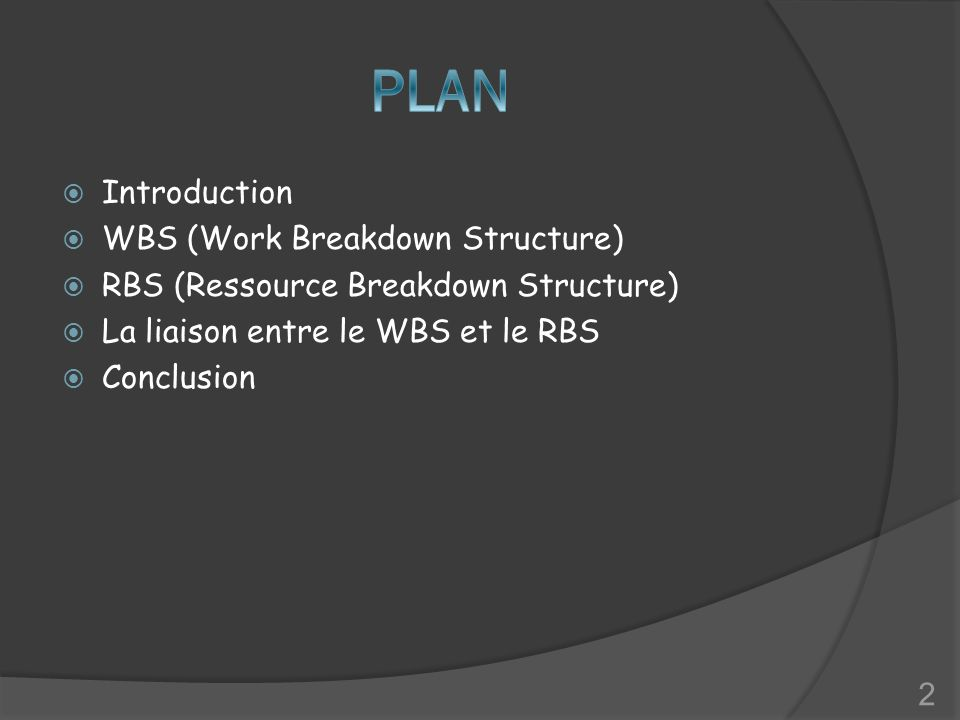 PLAN Introduction WBS (Work Breakdown Structure)