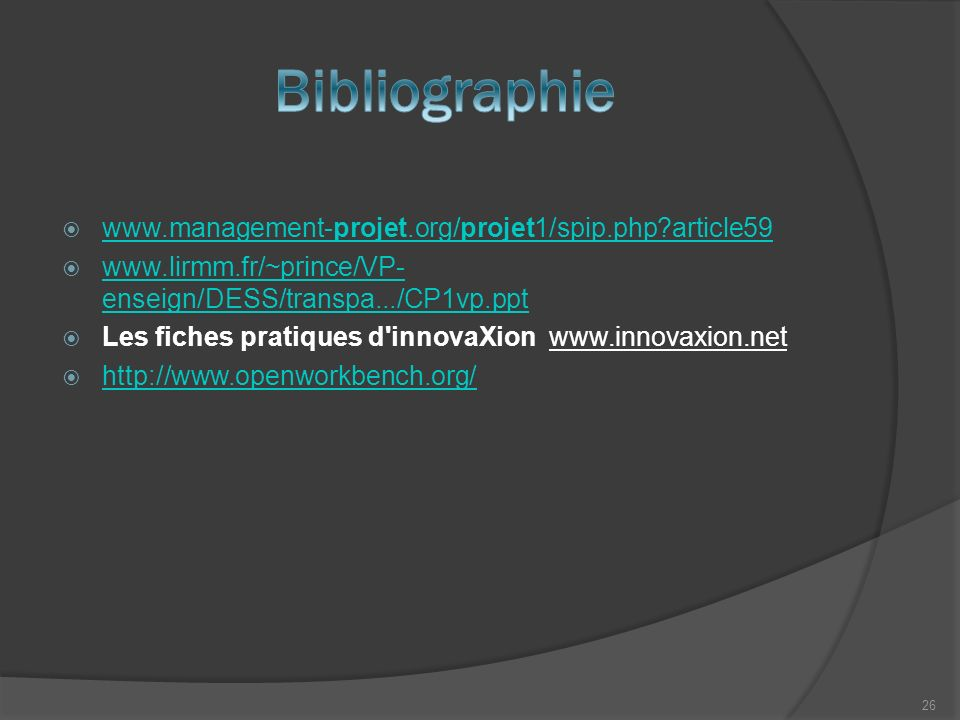 Bibliographie www.management-projet.org/projet1/spip.php article59