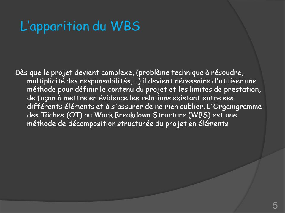 L'apparition du WBS
