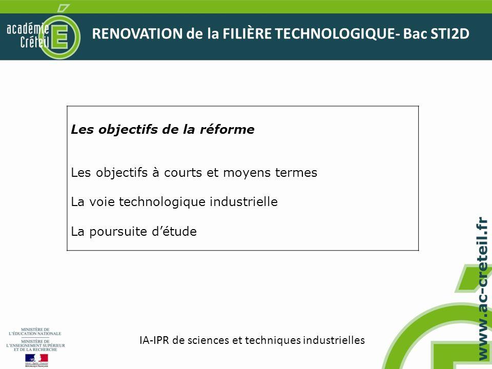 RENOVATION de la FILIÈRE TECHNOLOGIQUE- Bac STI2D