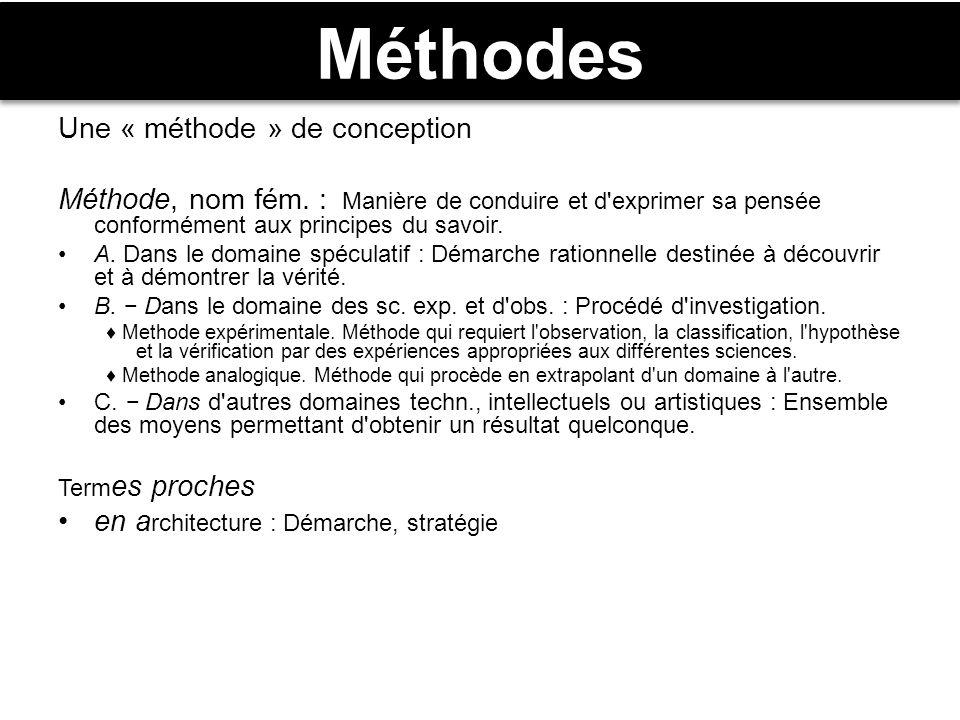Méthodes Une « méthode » de conception