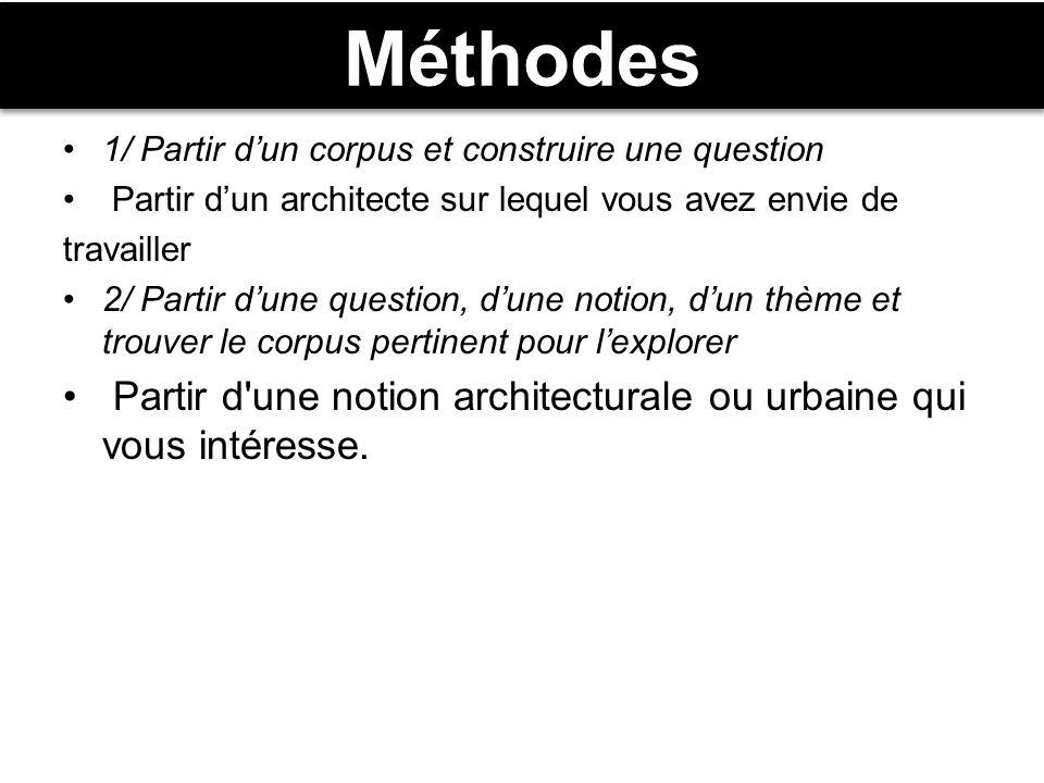 Méthodes 1/ Partir d'un corpus et construire une question. Partir d'un architecte sur lequel vous avez envie de.