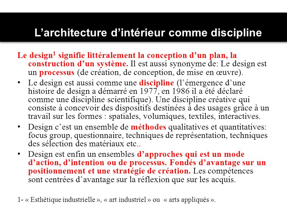 L'architecture d'intérieur comme discipline