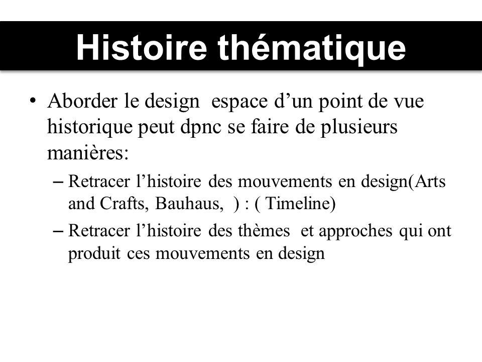 Histoire thématique Aborder le design espace d'un point de vue historique peut dpnc se faire de plusieurs manières: