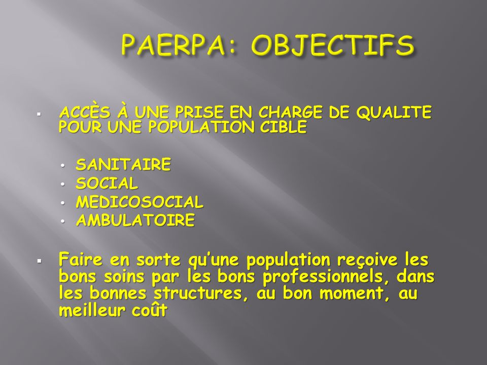PAERPA: OBJECTIFS ACCÈS À UNE PRISE EN CHARGE DE QUALITE POUR UNE POPULATION CIBLE. SANITAIRE. SOCIAL.