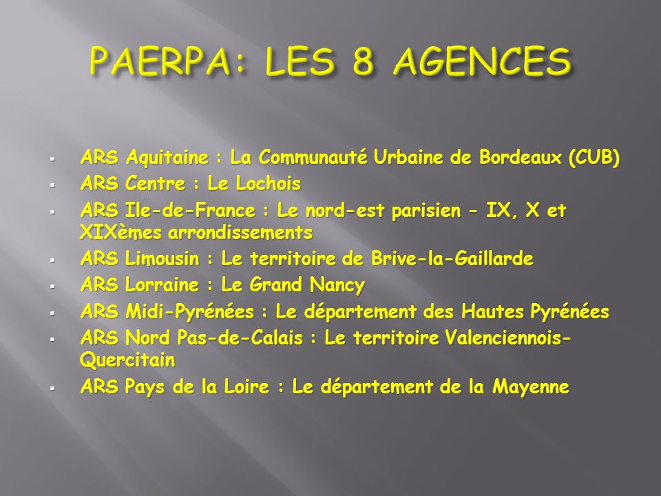 PAERPA: LES 8 AGENCES ARS Aquitaine : La Communauté Urbaine de Bordeaux (CUB) ARS Centre : Le Lochois.