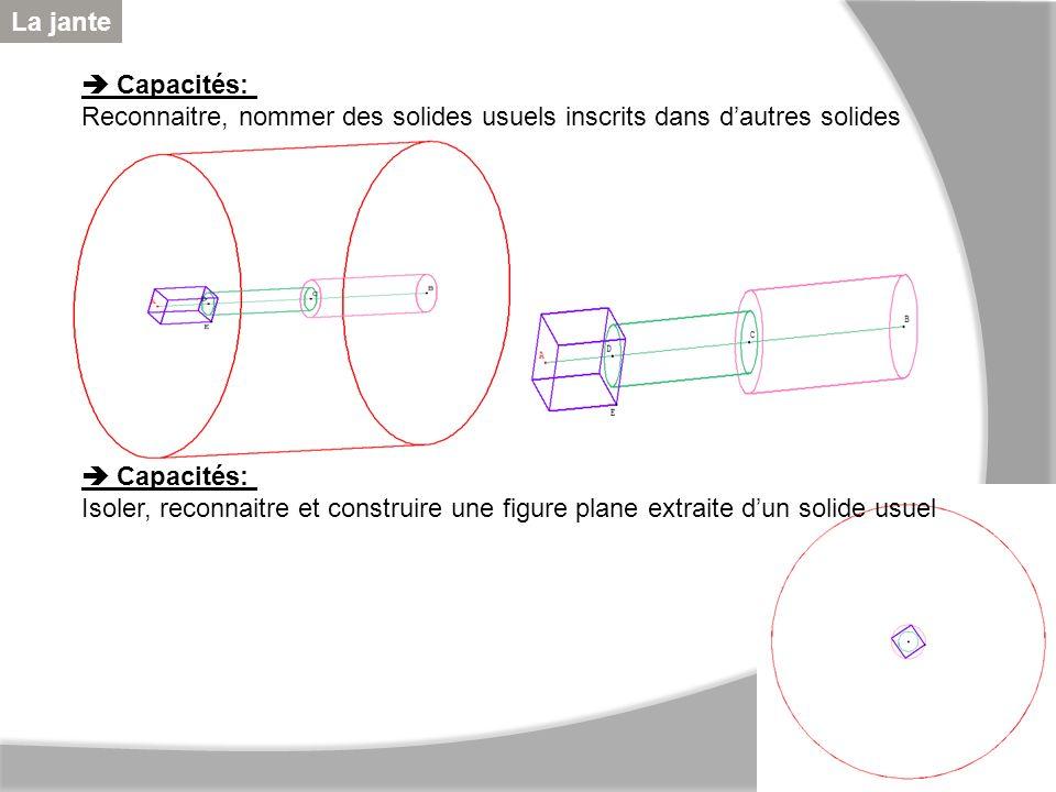 La jante  Capacités: Reconnaitre, nommer des solides usuels inscrits dans d'autres solides.  Capacités: