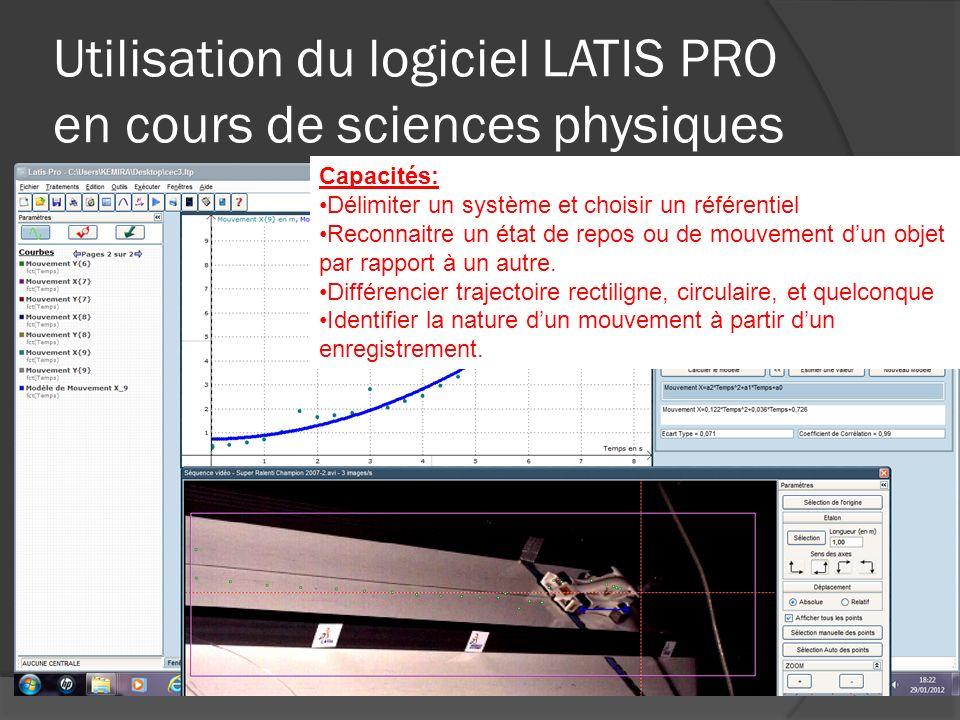 Utilisation du logiciel LATIS PRO en cours de sciences physiques