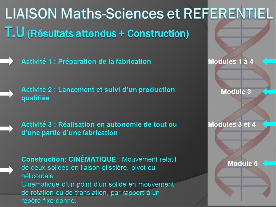 LIAISON Maths-Sciences et REFERENTIEL T