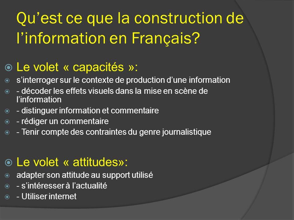 Qu'est ce que la construction de l'information en Français
