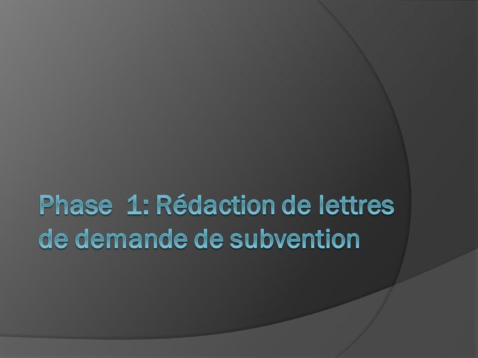 Phase 1: Rédaction de lettres de demande de subvention