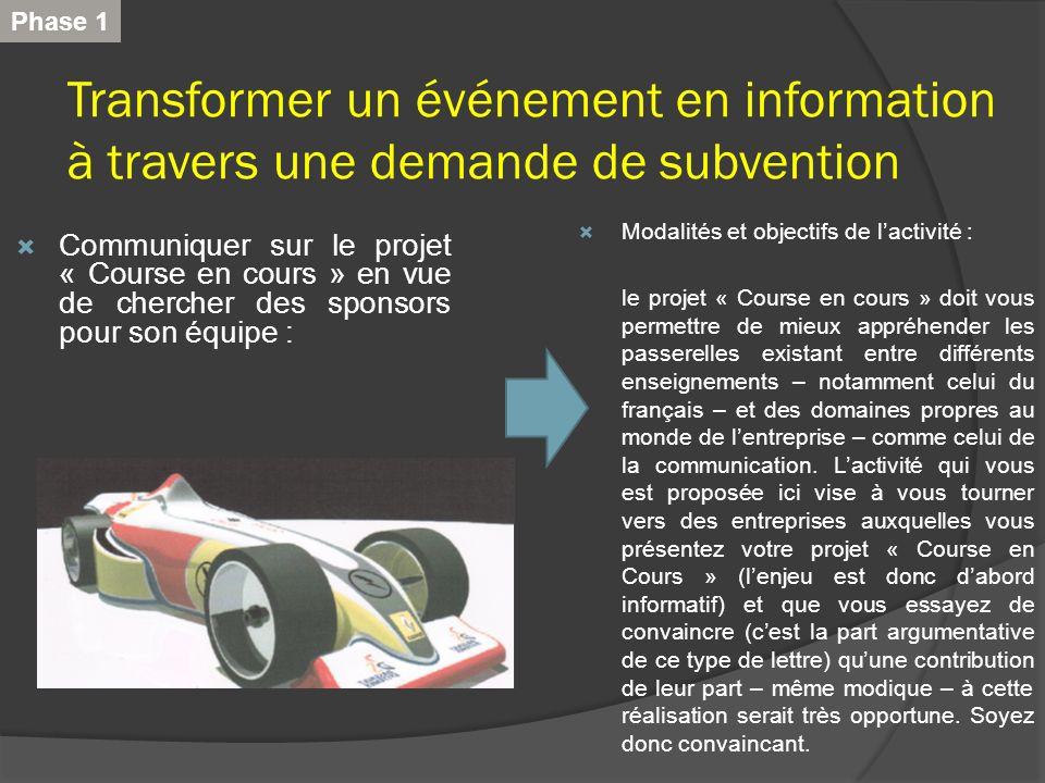 Phase 1 Transformer un événement en information à travers une demande de subvention. Modalités et objectifs de l'activité :