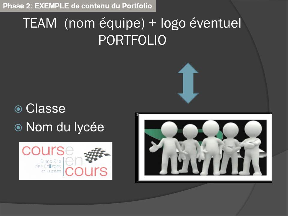 TEAM (nom équipe) + logo éventuel PORTFOLIO