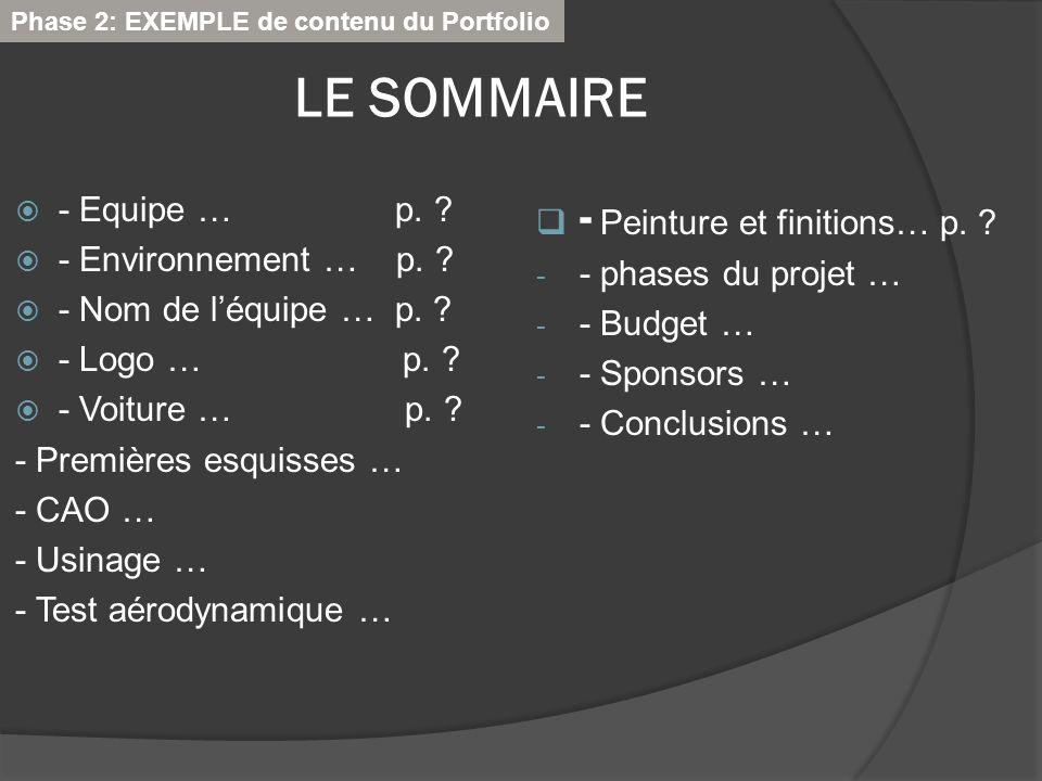 LE SOMMAIRE - Peinture et finitions… p. - Equipe … p.