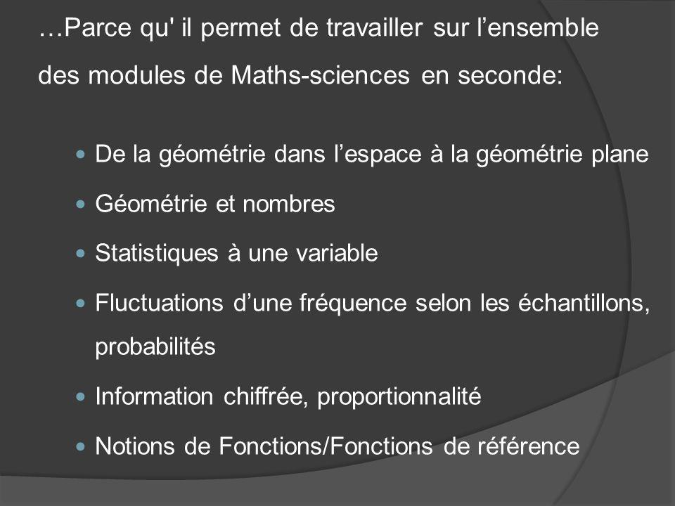 …Parce qu il permet de travailler sur l'ensemble des modules de Maths-sciences en seconde: