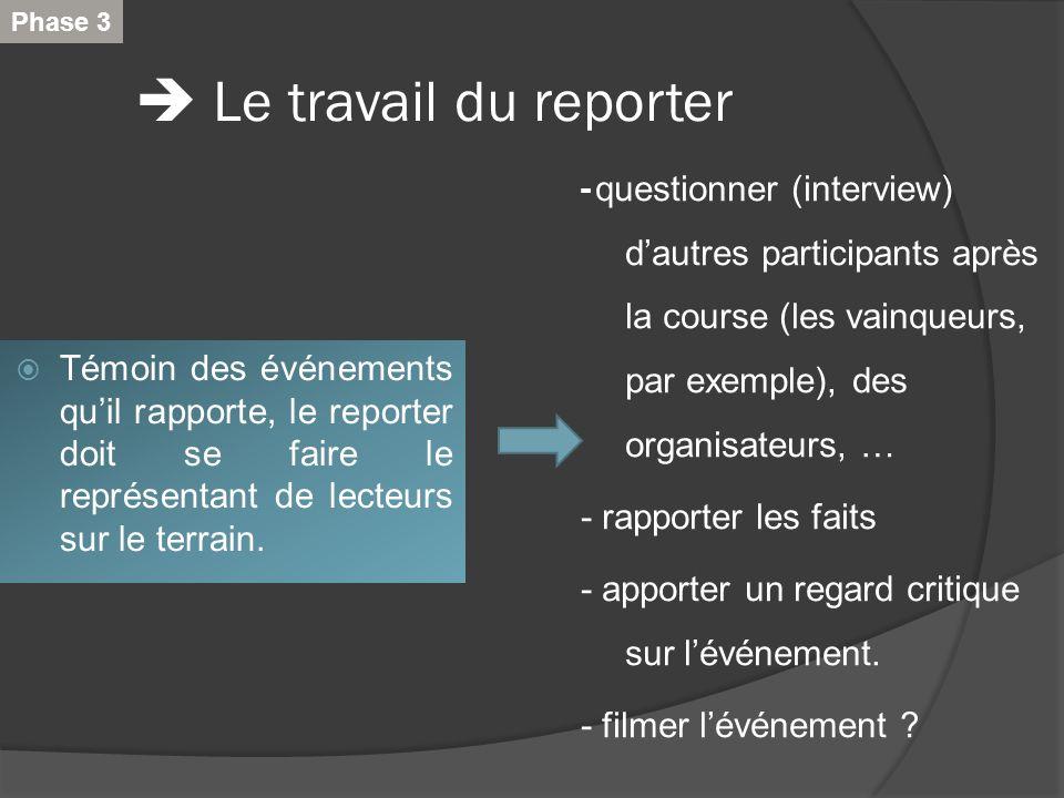  Le travail du reporter