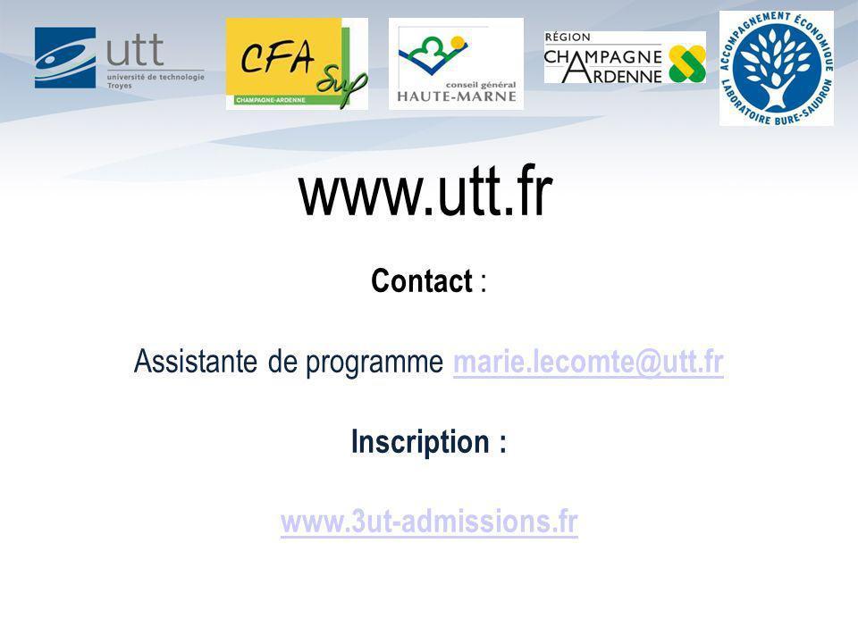Assistante de programme marie.lecomte@utt.fr
