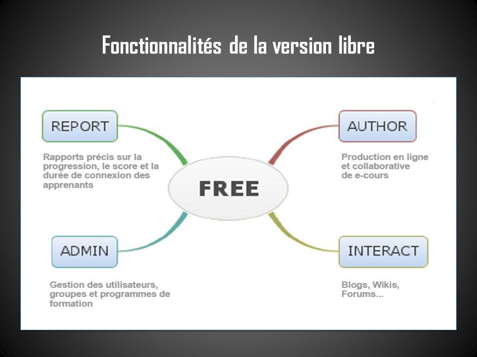 Fonctionnalités de la version libre