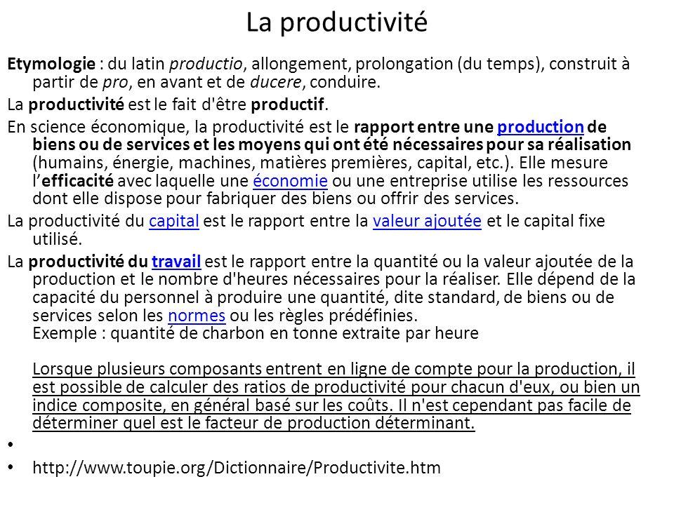 La productivité Etymologie : du latin productio, allongement, prolongation (du temps), construit à partir de pro, en avant et de ducere, conduire.