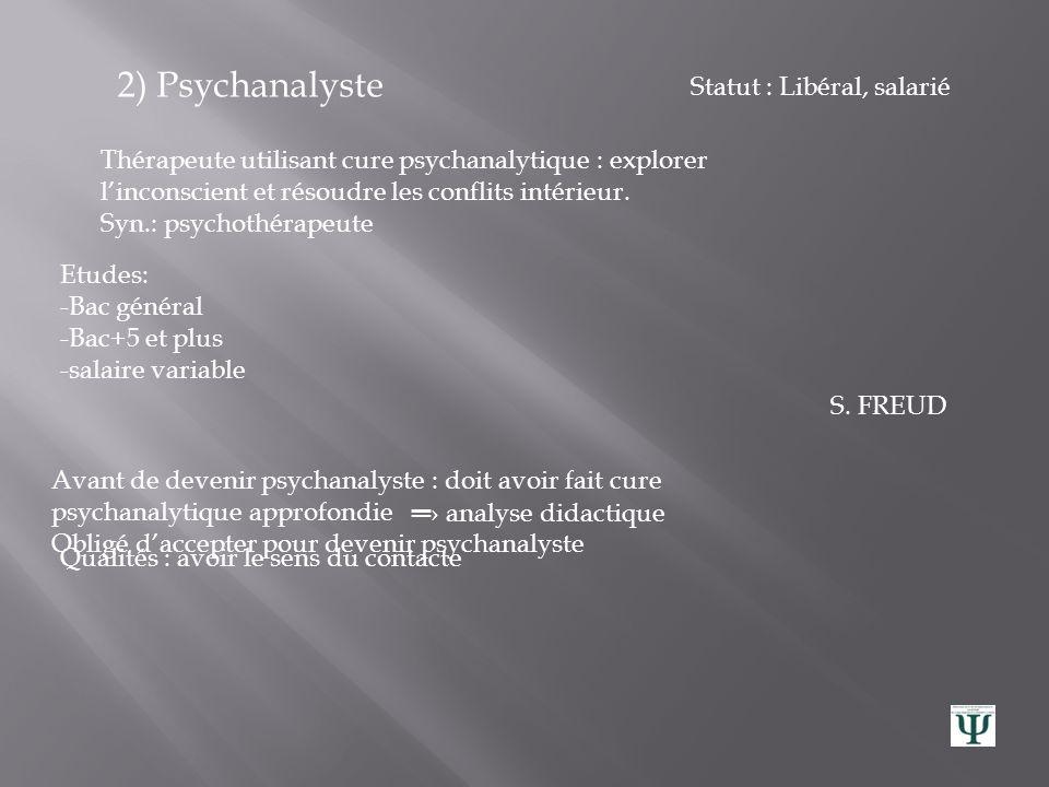 2) Psychanalyste Statut : Libéral, salarié