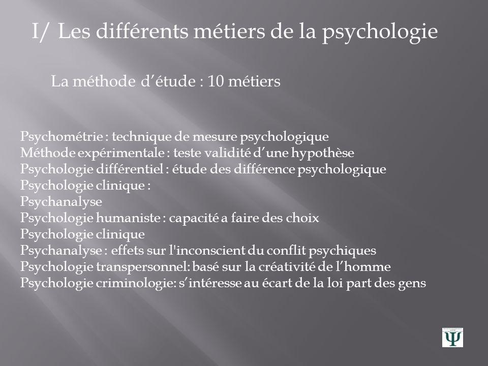 I/ Les différents métiers de la psychologie