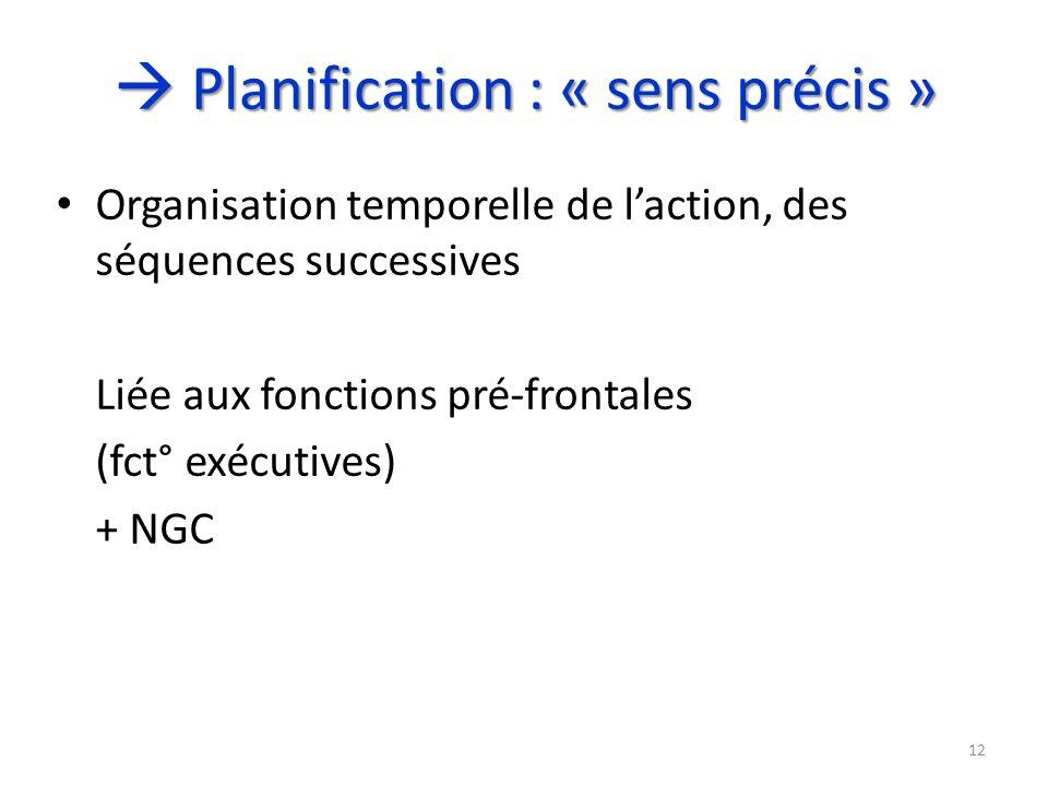  Planification : « sens précis »