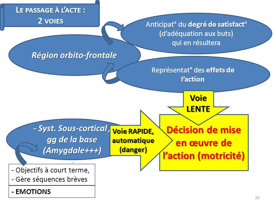 Décision de mise en œuvre de l'action (motricité)