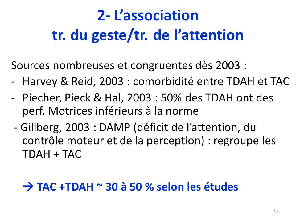 2- L'association tr. du geste/tr. de l'attention