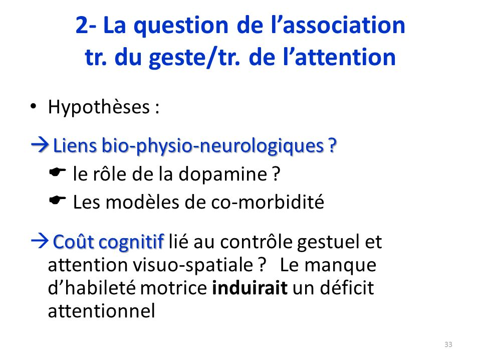 2- La question de l'association tr. du geste/tr. de l'attention