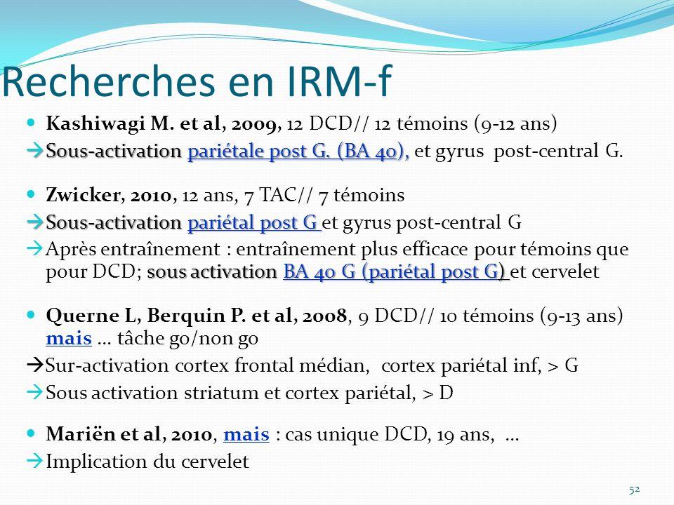 Recherches en IRM-f Kashiwagi M. et al, 2009, 12 DCD// 12 témoins (9-12 ans) Sous-activation pariétale post G. (BA 40), et gyrus post-central G.