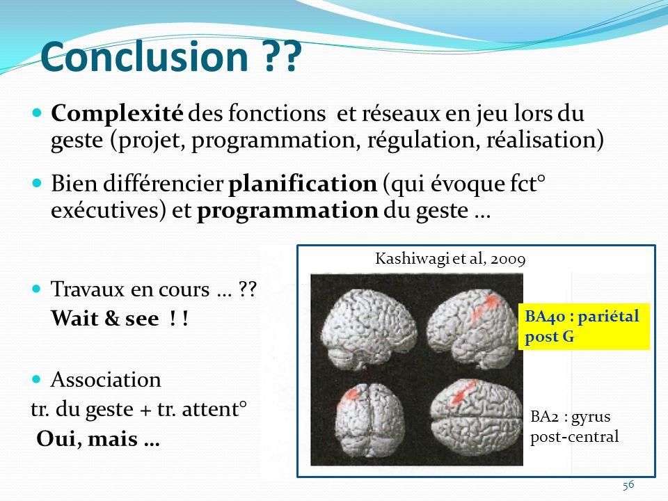Conclusion Complexité des fonctions et réseaux en jeu lors du geste (projet, programmation, régulation, réalisation)