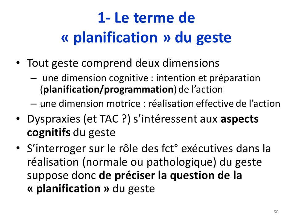 1- Le terme de « planification » du geste