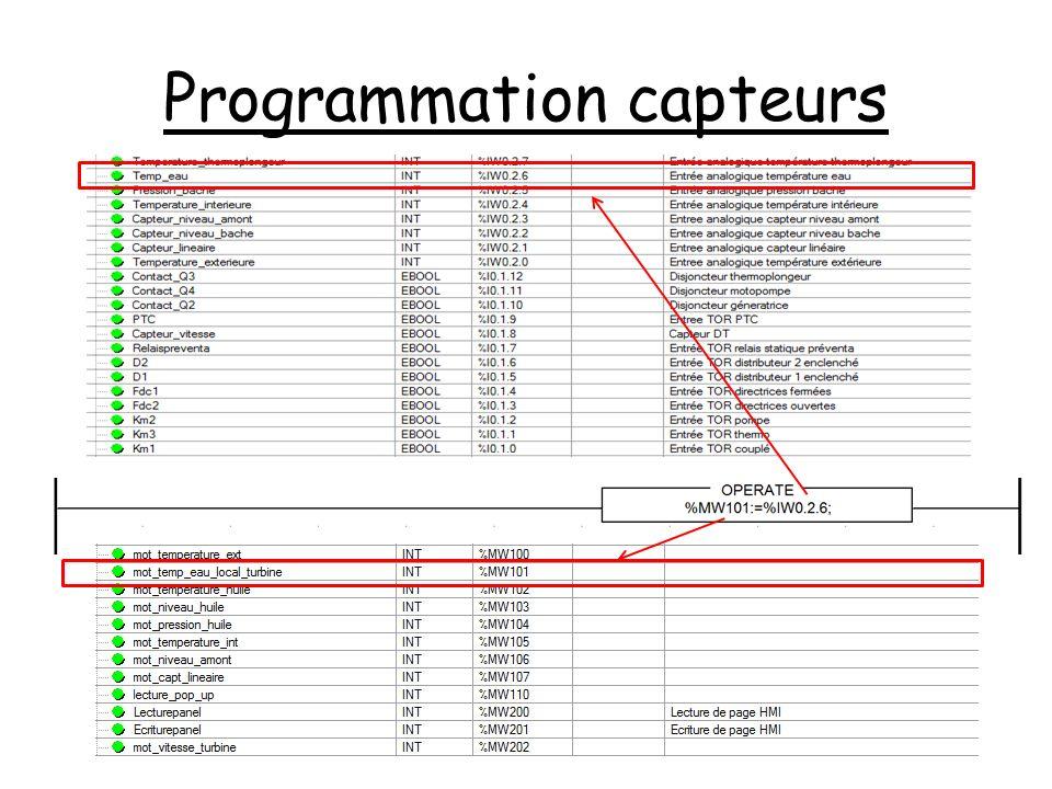Programmation capteurs