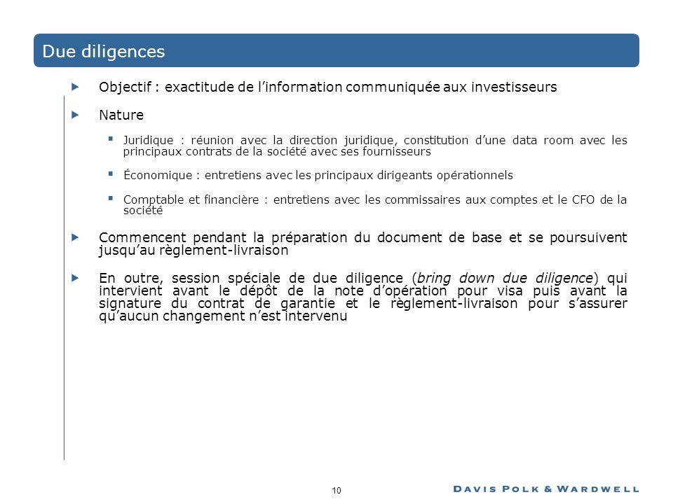 Due diligences Objectif : exactitude de l'information communiquée aux investisseurs. Nature.