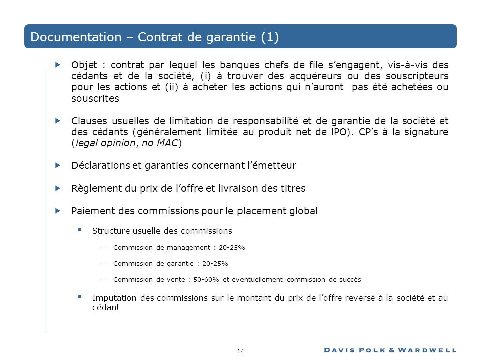 Documentation – Contrat de garantie (1)