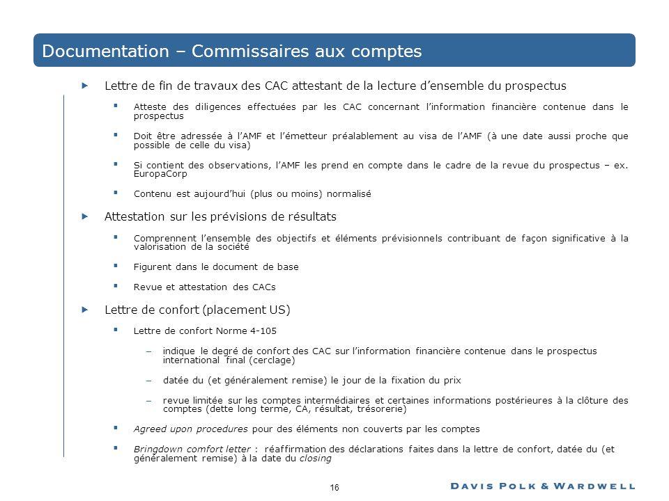 Documentation – Commissaires aux comptes