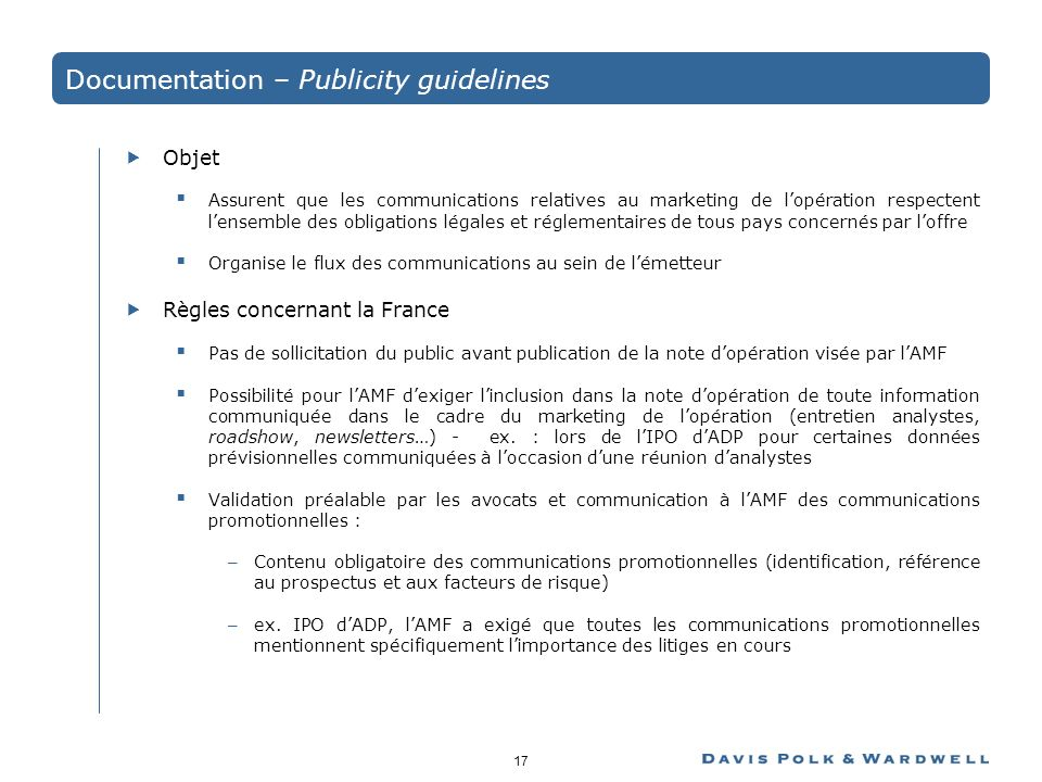 Documentation – Publicity guidelines