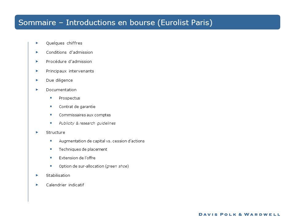 Sommaire – Introductions en bourse (Eurolist Paris)